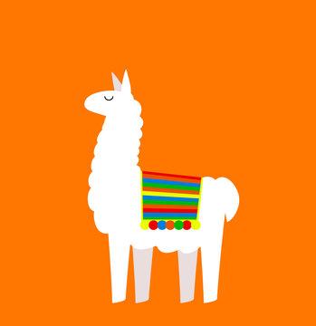 Cute cartoon Llama drawing on bright background, simple vector
