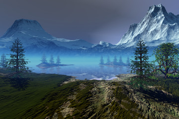 Blue lagoon, an alpine landscape, coniferous trees, snowy mountains and a cloudy sky.