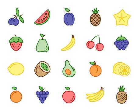 Obst und Früchte Vector Icon Illustration Set
