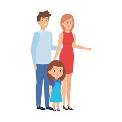 parents couple with daughter characters
