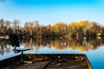 Emplacement pour un pêcheur au bord d'un étang avec des cygnes en arrière plan