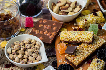 Granola bars with healthy nuts and dried fruits