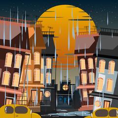 city in rainy day vector illustration