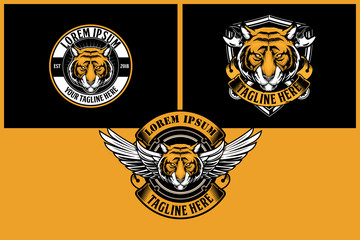amazing  biker tiger cartoon character with wing and cross wrench vector logo template collection