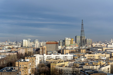 view of Moscow  with the Shukhov tower