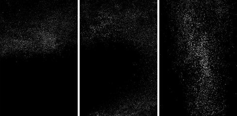 White grainy texture isolated on black background.White grainy texture isolated on black background. Damaged textured. Snow design elements. Set vector illustration,eps 10.