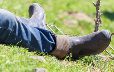 Legs of men in boots on the grass in nature