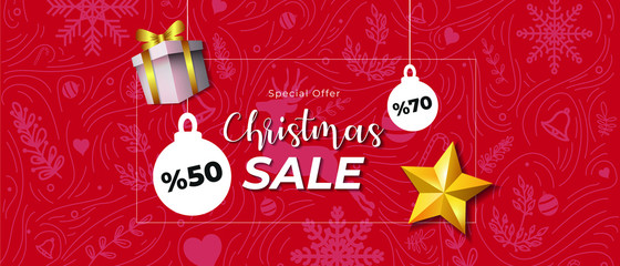 Exclusive Christmas Sale with 70 and 50 Percent of Discount. Christmas Ornament on Red Background Banner.