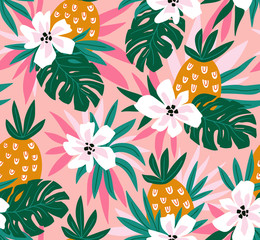 Floral background with tropical hawaiian flowers, leaves and pineapples. Vector seamless pattern for stylish fabric design.