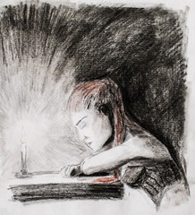 A girl with horsehair hair is falling asleep by the candle at the table