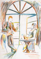 A man and a woman in a restaurant. Pencil drawing, relationship on a date