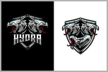 hydra mythology animal cartoon character with shield badge or crest logo template