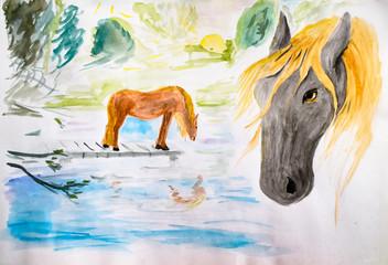 Horses at the watering, drawing watercolor. Drawing horses