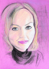 Portrait of a blonde on pink paper. White-haired girl painted with pencils.