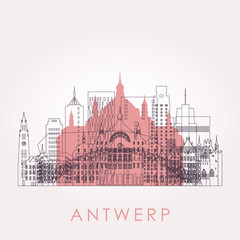 Zelfklevend Fotobehang Antwerpen Outline Antwerp skyline with landmarks. Vector illustration. Business travel and tourism concept with historic buildings. Image for presentation, banner, placard and web site.