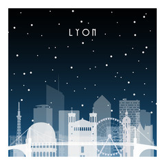 Winter night in Lyon. Night city in flat style for banner, poster, illustration, background.