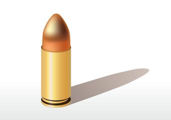Une balle de pistolet posée sur un fond blanc avec son ombre portée.