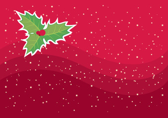 Abstract red Christmas backround with mistletoe vector. Festive red background with snowflakes. Holiday background with copy space for text