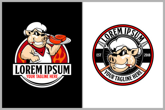 chef pig or pork animal cartoon character vector for barbeque club logo template collection