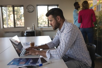 Business executive using laptop in office