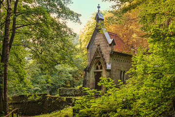 .Chapel at the forest old German cemetery in the Czech Switzerland. Bohemia. Czech Republic. Wall mural