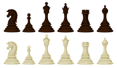 Flat vector set of wooden chess pieces. Brown and beige figures of strategic board game