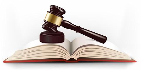 Maillet de juge posé sur un livre de lois pour symboliser la justice et le système judiciaire.