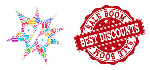Trading collage of discount boom mosaic and scratched stamp seal. Mosaic discount boom collage is designed with bright shopping bags, carts, dollars, discount percents, gifts, announces.