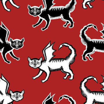 Seamless background of manticore cats