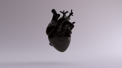 Black Anatomical Heart 3d illustration 3d render