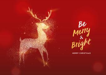 Wall Mural - Christmas gold glitter texture reindeer card