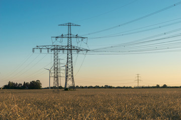 electricity pylons at sunset - agricultural field
