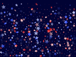 Red blue white star sparkles american  background.