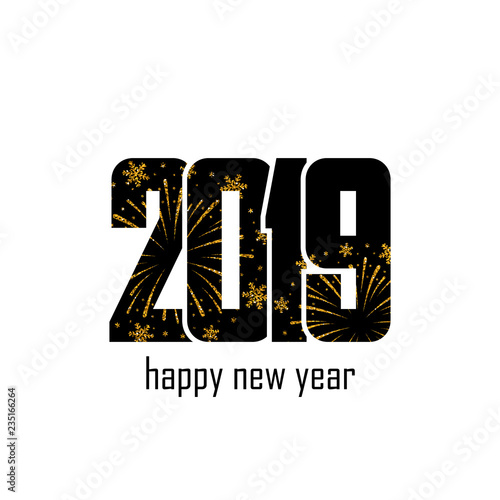 happy new year card black number 2019 with gold snowflakes isolated white background