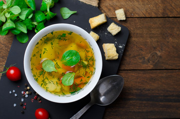 Vegetable Soup with Carrot, Bell Pepper, Potato, Leek and Herbs, Bowls of Healthy Vegetarian Soup