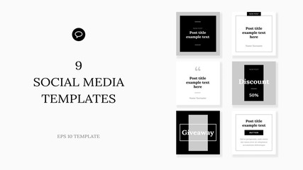 Square web banners for social media. Post layout templates.