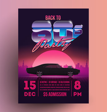 Retro vintage 80s night party promotion flyer template. Vector illustration.