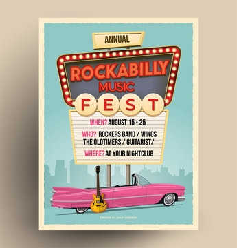 Rockabilly music festival or party or concert promo poster. Flyer template. Vintage vector illustration.