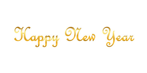 Happy New Year gold text decoration. Bright golden texture lettering with sparkle, isolated white background. Design typography for holiday, greeting card, Christmas celebration. Vector illustration