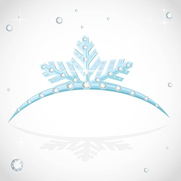 Blue shining tiara snowflakes shaped for Christmas ball on a white background