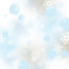 Christmas background with snowflakes and baubles