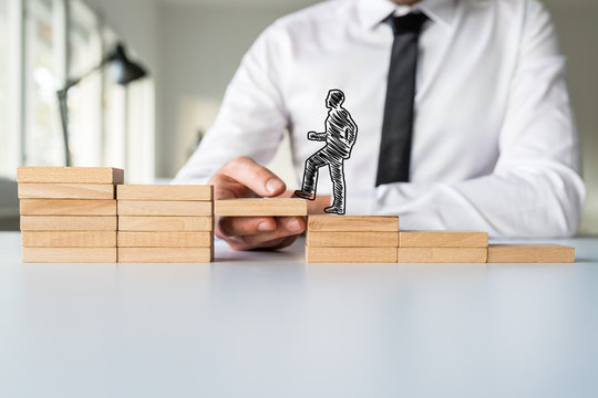 Hand drawn businessman going up the wooden steps