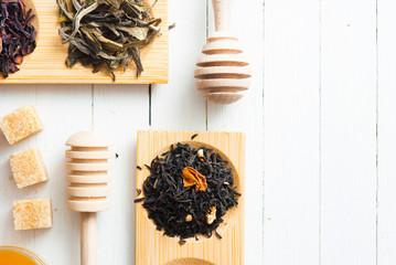Tea, sugar, honey