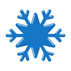Snowflake blue icon. Cartoon snow flake sign isolated on white background. Symbol of Christmas holiday, winter celebration. New Year silhouette pattern for decoration. Vector illustration