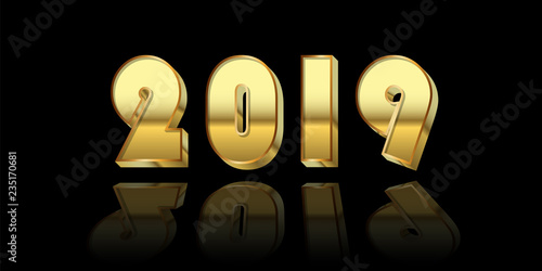 Happy New Year Background Gold 3d Number 2019 Isolated On Black