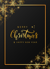 Merry Christmas and happy new year elegant greeting card design