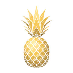 Pineapple grunge with leaf. Tropical gold exotic fruit isolated white background. Symbol of organic food, summer, vitamin, healthy. Nature logo. Design element silhouette icon. Vector illustration
