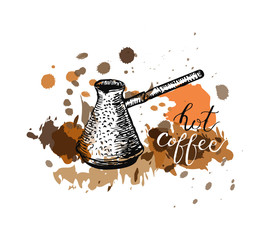 Hot Coffee lettering and Coffee pot
