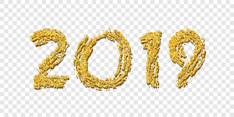 Happy New Year gold number 2019. Bright golden design with sparkle, isolated white transparent background. Holiday glitter typography Christmas banner, decoration, greeting card. Vector illustration