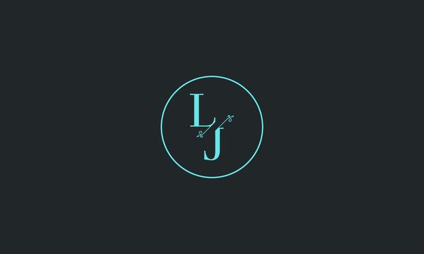 LETTER L AND J FLOWER LOGO WITH CIRCLE FRAME FOR LOGO DESIGN OR ILLUSTRATION USE